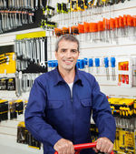 Confident Worker In Hardware Shop — Stock Photo