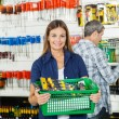 Woman Carrying Basket Full Of Tools In Store — Stock Photo #54523443