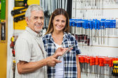 Father And Daughter With Wrench In Shop — Stockfoto