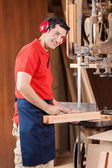 Carpenter Marking On Wood With Pencil By Bandsaw — Stock Photo