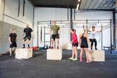 Athletes Practicing Box Jumps — Stock Photo
