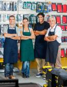 Salespeople Smiling In Hardware Store — Stock Photo