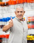 Customer Showing Thumbs Up Sign In Hardware Shop — Stock Photo