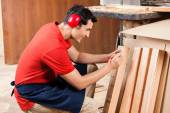 Carpenter Marking On Plank With Pencil — Stock Photo