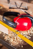 Closeup Of Ruler And Ear Protectors — Stock Photo
