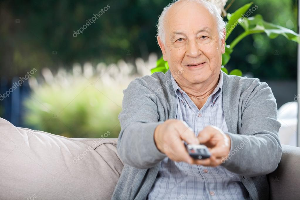 Elderly Using Facebook Portrait of Elderly Man Using