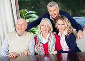Couple With Grandparents At Nursing Home — Foto Stock