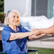Male Nurse Helping Senior Woman To Get Up From Wheelchair — Stock Photo #55500821