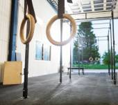 Gymnastic Rings Hanging in Cross Fitness Gym — Stock Photo