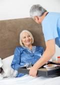 Caretaker Serving Breakfast To Happy Senior Woman — Stock Photo