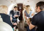 Business Partners Meeting In Private Jet — Stock Photo