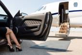 Wealthy Woman Stepping Out Of Car At Terminal — Foto de Stock