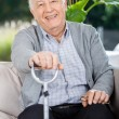 Portrait Of Happy Senior Man Holding Metal Cane — Stockfoto #55939343