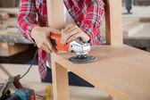Carpenter Using Sander On Wood — Stock Photo