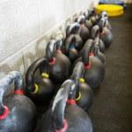 Kettlebells At Cross Fitness Box — Stock Photo #55940107