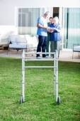 Walking Frame On Lawn At Nursing Home — Stock Photo