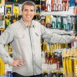 Happy Man Standing In Hardware Store — Stock Photo #56238669