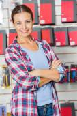 Confident Customer With Arms Crossed In Hardware Store — ストック写真