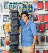Happy Man With Stacked Toolboxes In Store — Stock Photo