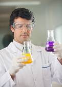 Scientist Examining Flasks With Different Chemicals — Stock Photo