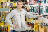 Happy Man Standing In Hardware Store — Stock Photo