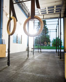 Gymnastic Rings At Gym — Stockfoto
