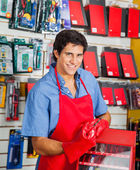 Salesman With Drill Bit And Toolbox In Shop — Stock Photo