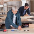 Male Carpenter Working On Blueprint At Workshop — Stok fotoğraf #56615725