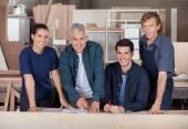 Confident Carpenters Working In Workshop — Foto de Stock