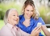 Senior Woman Learning Mobile Phone — Foto de Stock