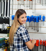 Female Customer Selecting Screwdriver In Hardware Shop — Stock Photo