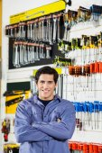 Customer Standing Arms Crossed In Hardware Shop — Stock Photo
