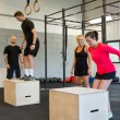 Постер, плакат: Athletes Box Jumping
