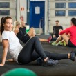Portrait Of Woman Exercising In Cross Fitness Box — Stock Photo #57459547