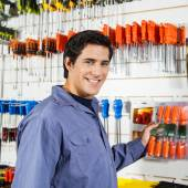 Customer Selecting Screwdrivers In Hardware Shop — Stock Photo