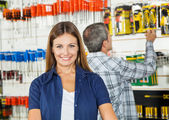 Beautiful Woman Smiling In Hardware Store — Stock Photo