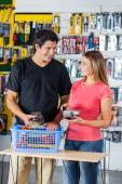 Couple Paying Through Credit Card In Hardware Store — Stock Photo