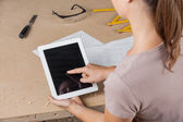 Female Architect Touching Tablet Computers Screen — Stock Photo