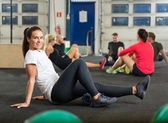 Portrait Of Woman Exercising In Cross Fitness Box — Stock Photo