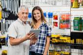 Woman And Father With Digital Tablet In Hardware Store — Stock Photo