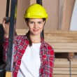 Confident Female Engineer Wearing Hardhat By Forklift — Stock Photo #58505945