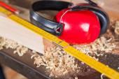 Ruler And Ear Protectors In Workshop — ストック写真