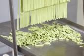Processed Spaghetti Pasta On Machine Tray — Stock Photo