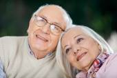 Loving Senior Couple Looking Away — Stock Photo