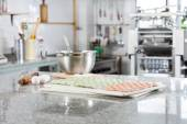 Uncooked Ravioli Pasta At Countertop In Commercial Kitchen — Stock Photo