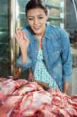 Woman Buying Meat In Butchery — Stock Photo