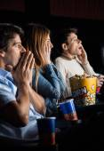 Shocked People Watching Movie — Stock Photo