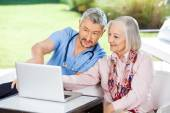 Male Caretaker Assisting Senior Woman In Using Laptop — Stock Photo