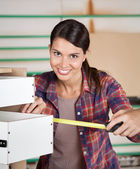 Carpenter Measuring Drawer With Measure Tape — Stock Photo