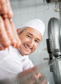 Butcher Smiling In Butchery — Stock Photo